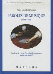 Paroles de musique (1658-1694) ; catalogue de livrets d'airs de différents auteurs publiés chez ballard - Intérieur - Format classique