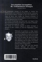 Les Enquetes Incompletes Du Comissaire Georges - 4ème de couverture - Format classique