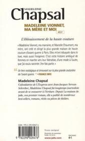 Madeleine Vionnet, ma mère et moi - 4ème de couverture - Format classique