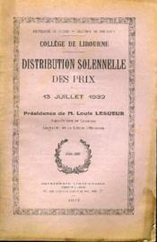 College De Libourne Distribution Solennelle Des Prix 13 Juillet 1932 - Couverture - Format classique