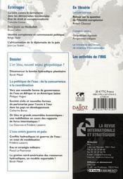 La Revue Internationale Et Strategique N.66 ; L'Or Bleu, Nouvel Enjeu Géopolitique ? - 4ème de couverture - Format classique