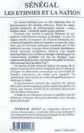 Senegal Les Ethnies Et La Nation - 4ème de couverture - Format classique