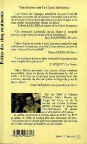 Variations Sur Le Chant Interieur - 4ème de couverture - Format classique
