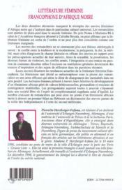Litterature Feminine Francophone D'Afrique Noire ; Suivi D'Un Dictionnaire Des Romancieres - 4ème de couverture - Format classique