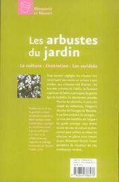 Les arbustes du jardin - 4ème de couverture - Format classique