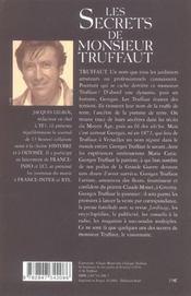 Les secrets de monsieur truffaut - 4ème de couverture - Format classique