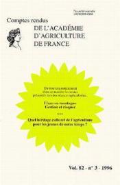 L'eau en montagne gestion et risques ; quel heritage culturel de l'agriculture pour les jeunes - Couverture - Format classique