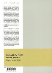 Passage du temps sur le paysage - 4ème de couverture - Format classique