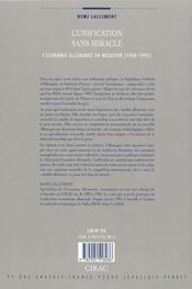 L'Unification Sans Miracle ; L'Economie Allemande En Mutation (1990-1995) - 4ème de couverture - Format classique