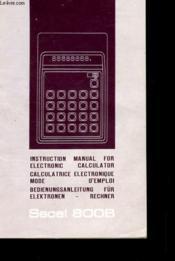 Mode D'Emploi Pour Calculatrice Electronique Secal 800b - Couverture - Format classique