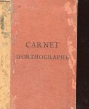Carnet D'Orthographe - Couverture - Format classique