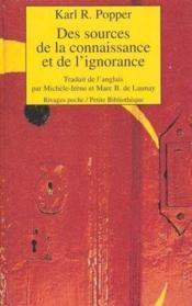 Des Sources De La Connaissance Et De L'Ignorance - Couverture - Format classique