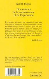 Des Sources De La Connaissance Et De L'Ignorance - 4ème de couverture - Format classique