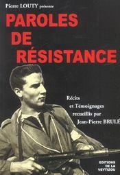 Paroles de résistance - Intérieur - Format classique
