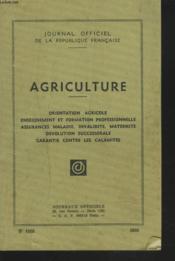 Journal Officiel De La Republique Francaise. Agriculture. - Couverture - Format classique