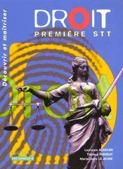 Droit 1ere Stt ; Livre De L'Eleve 2000 - Intérieur - Format classique