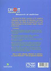 Droit 1ere Stt ; Livre De L'Eleve 2000 - 4ème de couverture - Format classique