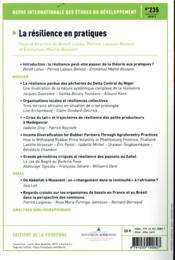 Revue internationale des études du développement ; la résilience en pratiques - 4ème de couverture - Format classique