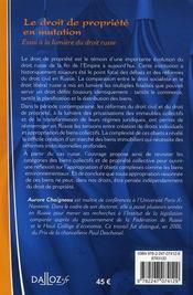 Le droit de propriété en mutation ; essai à la lumière du droit russe - 4ème de couverture - Format classique