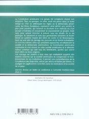 La constitution américaine et les institutions (2e édition) - 4ème de couverture - Format classique