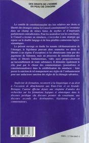 Desdroits De L'Homme En Peau De Chagrin ; Le Droit Des Etrangers Dans La Jurisprudence Du Conseil Constitutionnel - 4ème de couverture - Format classique