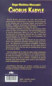 Chorus kabyle - 4ème de couverture - Format classique