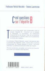 Cent Questions Sur L'Hepatite B - 4ème de couverture - Format classique