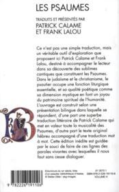 Les psaumes - 4ème de couverture - Format classique