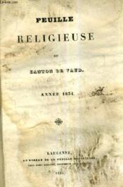 Feuille Religieuse Du Canton De Vaud - Annee 1834. - Couverture - Format classique
