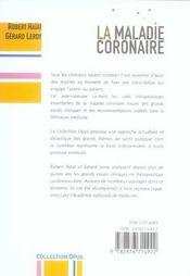 La Maladie Coronaire - 4ème de couverture - Format classique