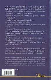 Guide pratique des pierres de soins t.1methodes - 4ème de couverture - Format classique