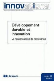 Cahiers d'économie de l'innovation N.29 ; développement durable et innovation, la responsabilité de l'entreprise (édition 2009) - Couverture - Format classique