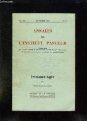 Annales De L Institut Pasteur N° 5 Volume 123 Novembre 1972. Immunologie. - Couverture - Format classique