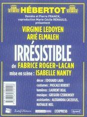 REVUE L'AVANT-SCENE THEATRE N.1219 ; irrésistible - 4ème de couverture - Format classique