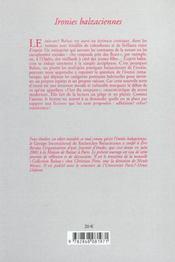 Ironies balzaciennes - 4ème de couverture - Format classique