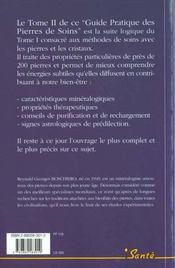 Guide pratique des pierres de soin t.2 proprietes - 4ème de couverture - Format classique