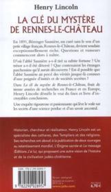 La clé du mystère de Rennes-le-Château - 4ème de couverture - Format classique