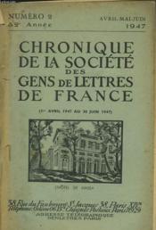 CHRONIQUE DE LA SOCIETE DES GENS DE LETTRES DE FRANCE N°2, 82e ANNEE ( DU 1er AVRIL AU 30 JUIN 1947) - Couverture - Format classique