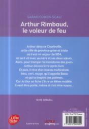 Arthur Rimbaud ; le voleur de feu - 4ème de couverture - Format classique