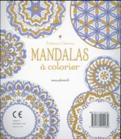 Mandalas à colorier - 4ème de couverture - Format classique