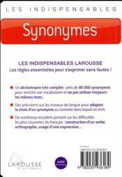 Synonymes - 4ème de couverture - Format classique
