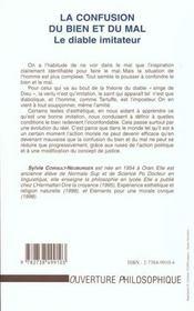 La Confusion Du Bien Et Du Mal ; Le Diable Imitateur - 4ème de couverture - Format classique