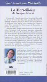 Marseillaise De F. Mireur - 4ème de couverture - Format classique