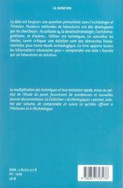 La Datation En Laboratoire - 4ème de couverture - Format classique