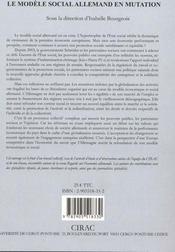 Le Modele Social Allemand En Mutation - 4ème de couverture - Format classique