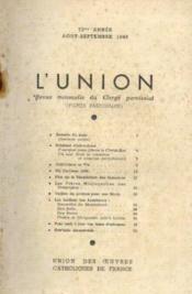 L'union, revue mensuelle du clergé paroissial, 72me année, aout septembre - Couverture - Format classique