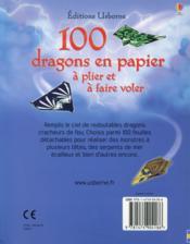 100 dragons en papier à plier et à faire voler - 4ème de couverture - Format classique