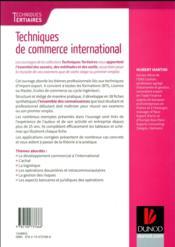 Techniques de commerce international - 4ème de couverture - Format classique