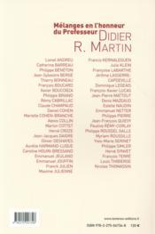 Mélanges en l'honneur du professeur Didier R. Martin - 4ème de couverture - Format classique