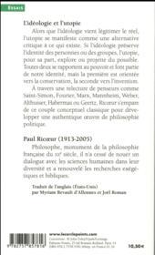 L'idéologie et l'utopie - 4ème de couverture - Format classique